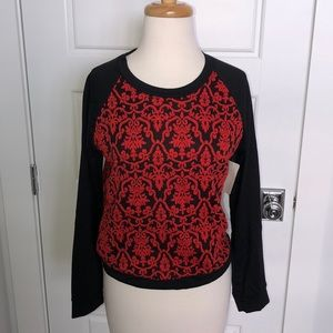 NWT Red & Black Damask Sweatshirt Style Top